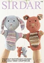 Sirdar Snuggly Snowflake Chunky & Snuggly Baby Crofter DK - 4728 Hand Puppets Knitting Pattern